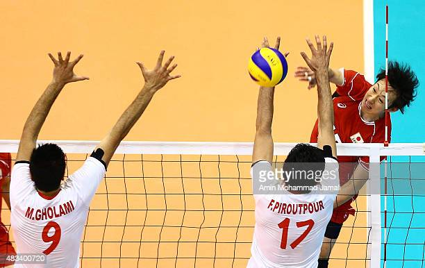 Masahiro Yanagida in action during 18th Asian Senior Men's Volleyball Championship in final between Iran against Japan on August 8 2015 in Tehran Iran