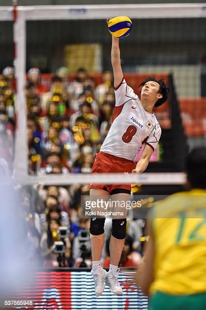 Masahiro Yanagida Japan serves the ball during the Men's World Olympic Qualification game between Australia and Japan at Tokyo Metropolitan Gymnasium...
