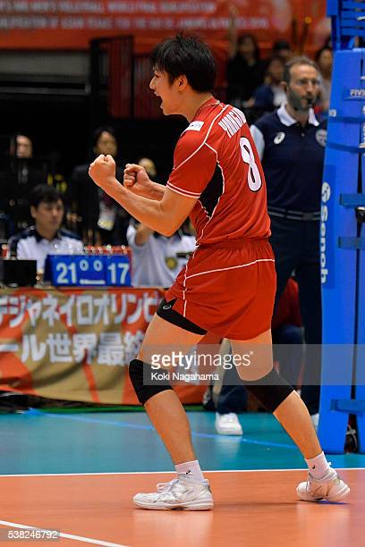 Masahiro Yanagida of Japan celebrate a point during the Men's World Olympic Qualification game between France and Japan at Tokyo Metropolitan...