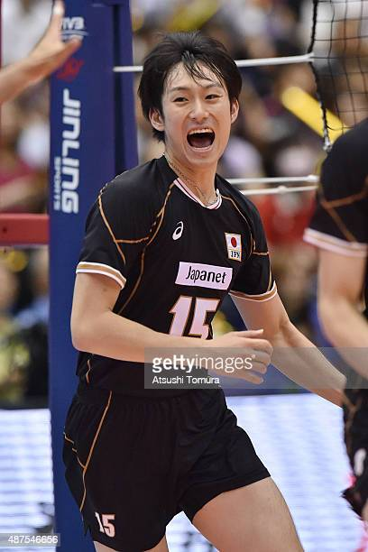 Masahiro Yanagida of Japan celebrates after winning a point in the match between Japan and Australia during the FIVB Men's Volleyball World Cup Japan...