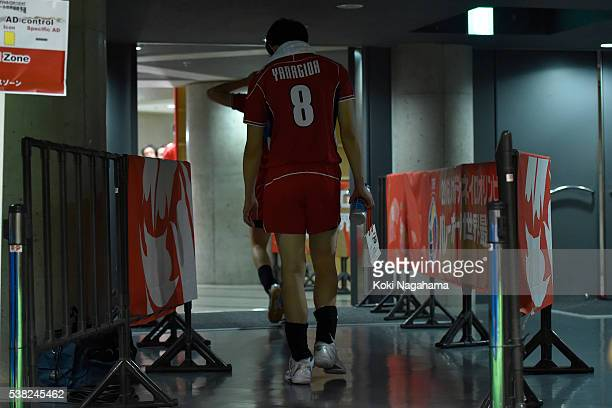Masahiro Yanagida of Japan leaves the court after the Men's World Olympic Qualification game between France and Japan at Tokyo Metropolitan Gymnasium...