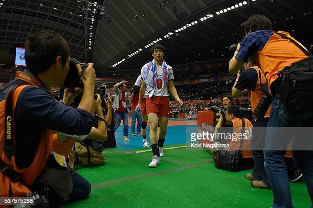 Masahiro Yanagida of Japan looks dejected as he leaves the court after losing the Men's World Olympic Qualification game between Australia and Japan...