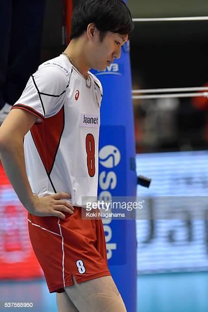 Masahiro Yanagida of Japan looks dejected during the Men's World Olympic Qualification game between Australia and Japan at Tokyo Metropolitan...