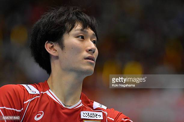 Masahiro Yanagida of Japan looks on during the Men's World Olympic Qualification game between France and Japan at Tokyo Metropolitan Gymnasium on...