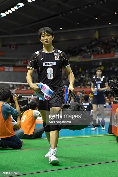 Masahiro Yanagida of Japan reacts after losing the Men's World Olympic Qualification game between Japan and Canada at Tokyo Metropolitan Gymnasium on...