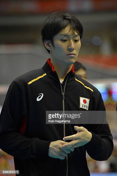 Masahiro Yanagida of Japan reacts during the Men's World Olympic Qualification game between Japan and Canada at Tokyo Metropolitan Gymnasium on June...