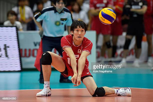 Masahiro Yanagida of Japan receives the ball in the match between Japan and Iran during the FIVB Men's Volleyball World Cup Japan 2015 at the Osaka...