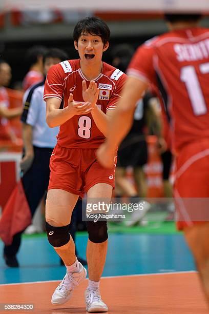 Masahiro Yanagida of Japan selebrate a point during the Men's World Olympic Qualification game between France and Japan at Tokyo Metropolitan...