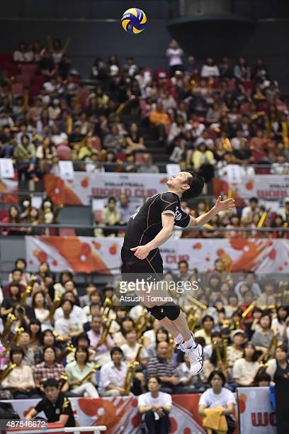 Masahiro Yanagida of Japan serves in the match between Japan and Australia during the FIVB Men's Volleyball World Cup Japan 2015 at the Hiroshima...