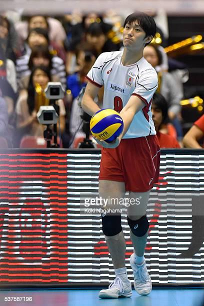 Masahiro Yanagida of Japan serves the ball during the Men's World Olympic Qualification game between Australia and Japan at Tokyo Metropolitan...