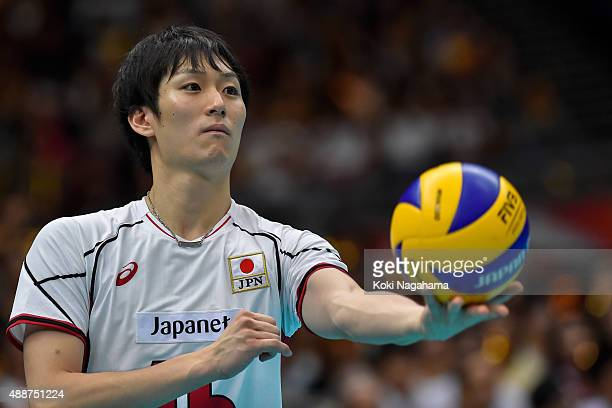 Masahiro Yanagida of Japan serves the ball in the match against Venezuela during the FIVB Men's Volleyball World Cup Japan 2015 at the Osaka...