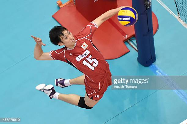 Masahiro Yanagida of Japan spikes against Egypt in the match between Japan and Egypt during the FIVB Men's Volleyball World Cup Japan 2015 at the...