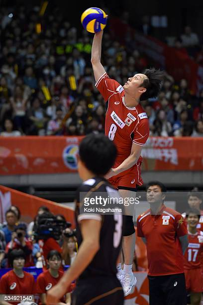 Masahiro Yanagida of Japan spikes the ball during the Men's World Olympic Qualification game between Japan and Venezuela at Tokyo Metropolitan...