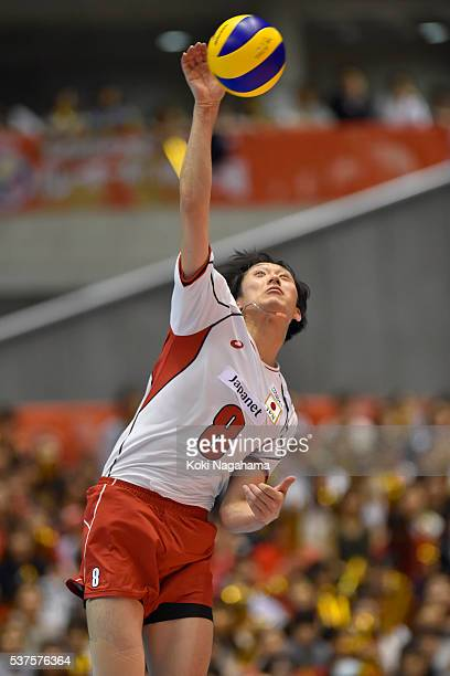 Masahiro Yanagida of Japan spikes the ball during the Men's World Olympic Qualification game between Australia and Japan at Tokyo Metropolitan...