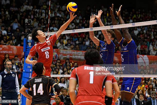 Masahiro Yanagida of Japanin action during the Men's World Olympic Qualification game between France and Japan at Tokyo Metropolitan Gymnasium on...