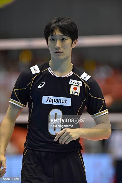 Masahiro Yanagida of Japanlooks on during the Men's World Olympic Qualification game between Japan and Canada at Tokyo Metropolitan Gymnasium on June...