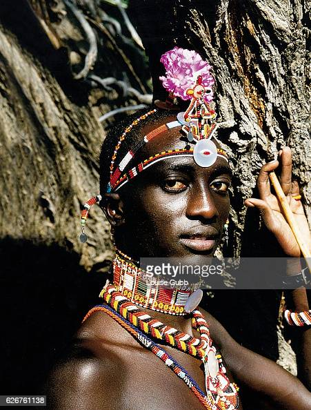 A Masai assistant to Ian Saunders the African wilderness guide for 'Survivor Africa' at the camp on the Shaba National Reserve in 2001