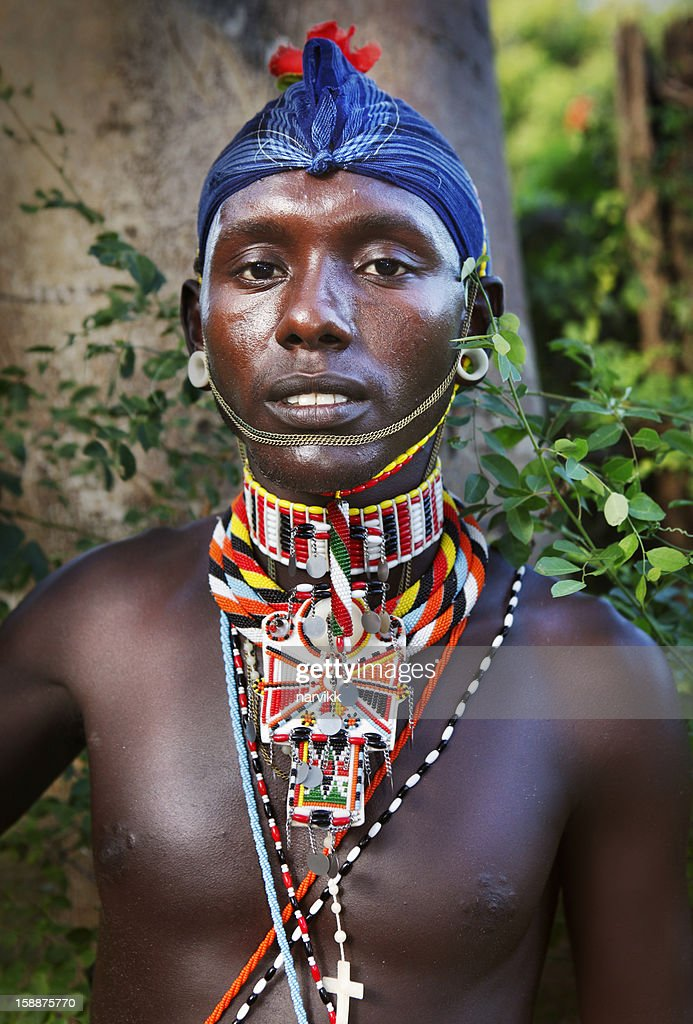 Masai man portrait : Stock Photo