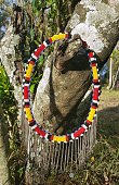 Masai necklace hanged on a tree as famouse colourful local accessories