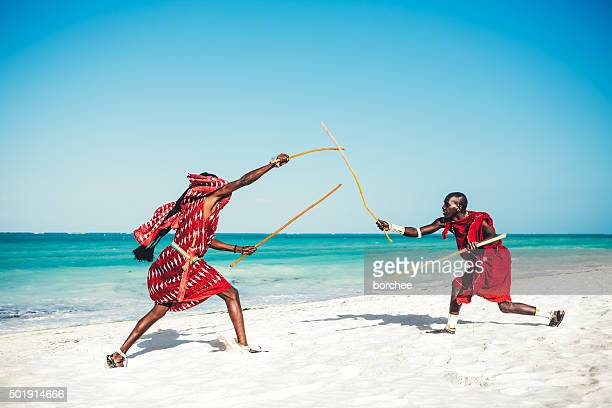 Masai People Demonstrating Their Fighting