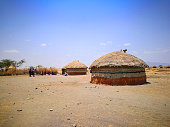 Tipycal houses of Masai tribe in Kenia
