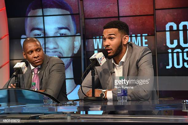 Masai Ujiri GM of the Toronto Raptors introduces Cory Joseph during a press conference on July 9 2015 at the Air Canada Centre in Toronto Ontario...