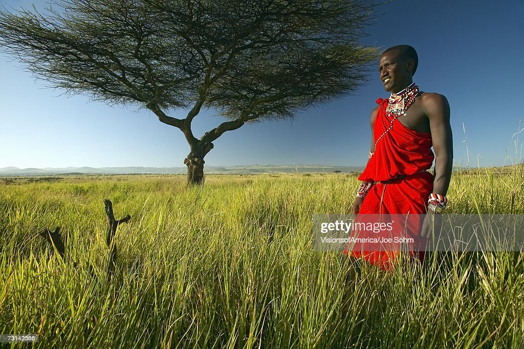 Masai Warrior in red standing near Acacia tree and surveying landscape of Lewa Conservancy, Kenya Africa