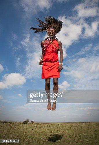 Masai warrior jumping in air