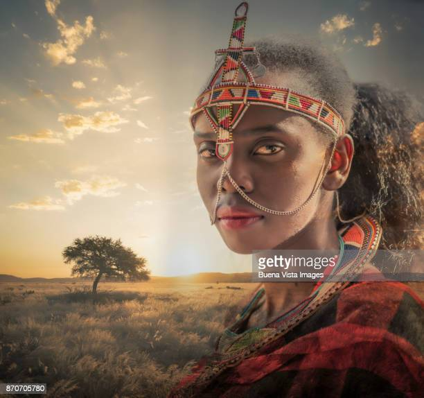 Masai woman in an african landscape