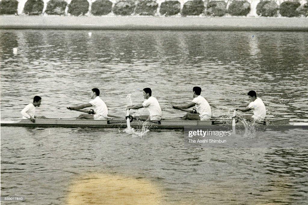 Masakatsu Yamanouchi Yukio Matsuda Hideaki Aida Hideo Oe and Noriichi Yoshino of Japan compete in the Rowing Men's Coxed Four repechage during the...