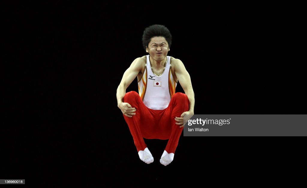Masaki Ito of Japan in action during the Gymnastics Trampoline Olympic Qualification round at North Greenwich Arena on January 13, 2012 in London, England.
