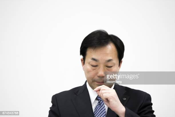 Masaki Yamauchi president of Yamato Holdings Co pauses during a news conference in Tokyo Japan on Friday April 28 2017 Yamato's shares gained the...