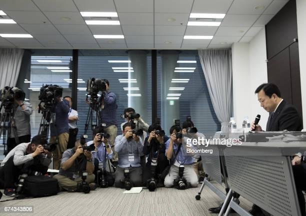 Masaki Yamauchi president of Yamato Holdings Co right attends a news conference in Tokyo Japan on Friday April 28 2017 Yamato's shares gained the...