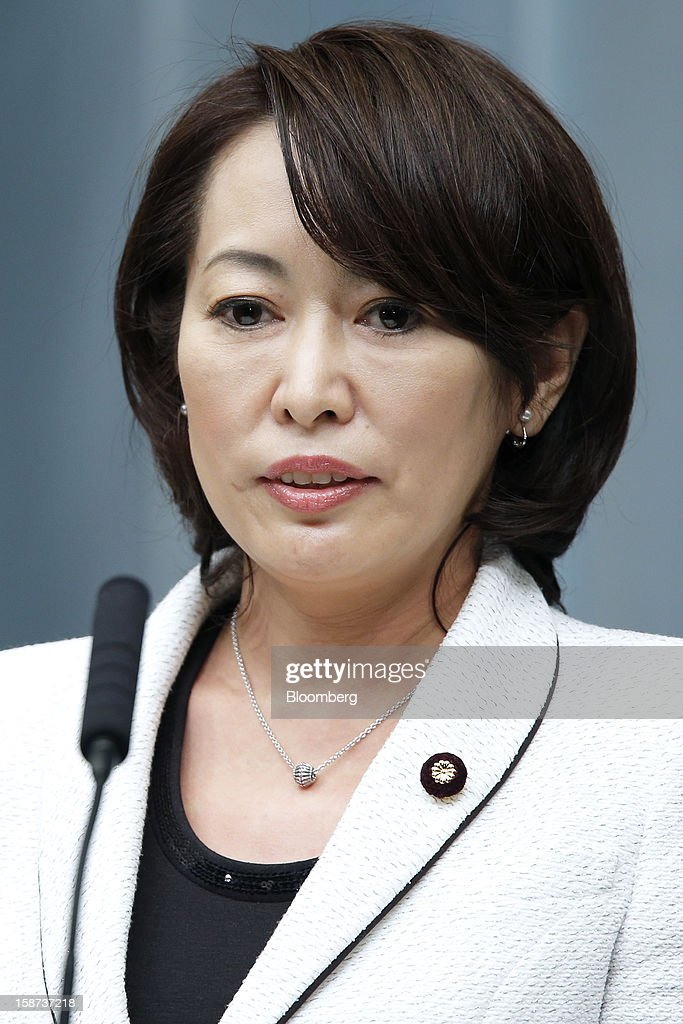 Masako Mori, Japan's newly appointed minister for consumer affairs and gender equality, speaks during a news conference at the prime minister's official residence in Tokyo, Japan, on Thursday, Dec. 27, 2012. Japan's parliament confirmed Shinzo Abe as the nation's seventh prime minister in six years, returning him to the office he left in 2007 after his party regained power in a landslide election victory last week. Photographer: Kiyoshi Ota/Bloomberg via Getty Images