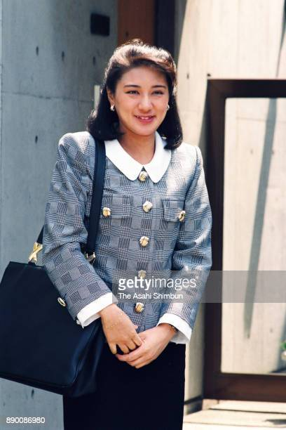 Masako Owada fiancee of Crown Prince Naruhito is seen after a session of imperial lectures at her home on April 15 1993 in Tokyo Japan