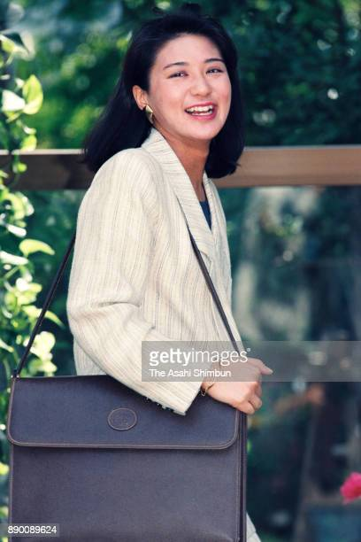 Masako Owada fiancee of Crown Prince Naruhito is seen after a session of imperial lectures in front of her home on April 26 1993 in Tokyo Japan