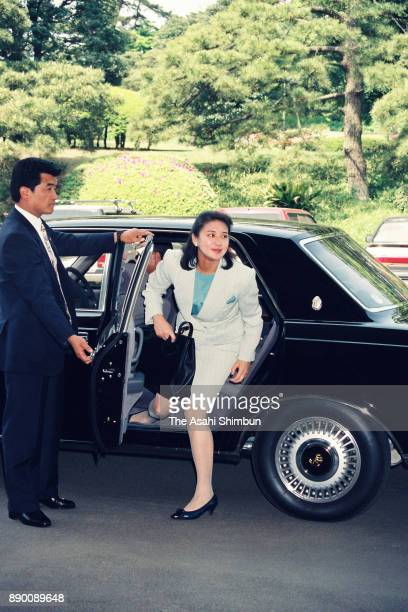 Masako Owada fiancee of Crown Prince Naruhito is seen on arrival for a final session of imperial lectures at the Imperial Household Agency on April...