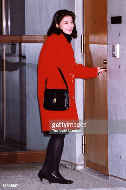 Masako Owada fiancee of Crown Prince Naruhito is seen on departure for the Togu Palace on January 28 1993 in Tokyo Japan
