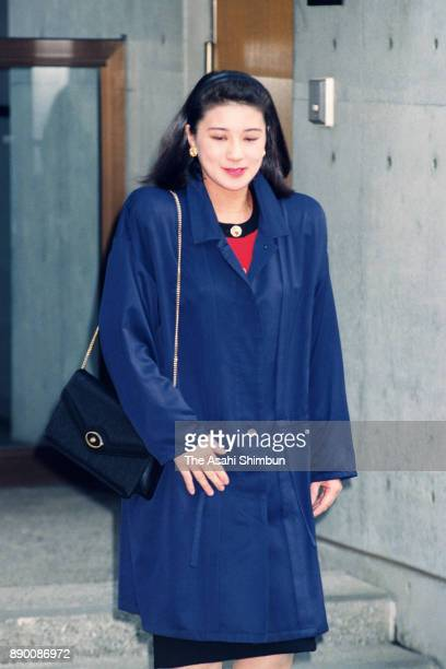 Masako Owada fiancee of Crown Prince Naruhito is seen on departure to the Togu Palace at her home on April 14 1993 in Tokyo Japan
