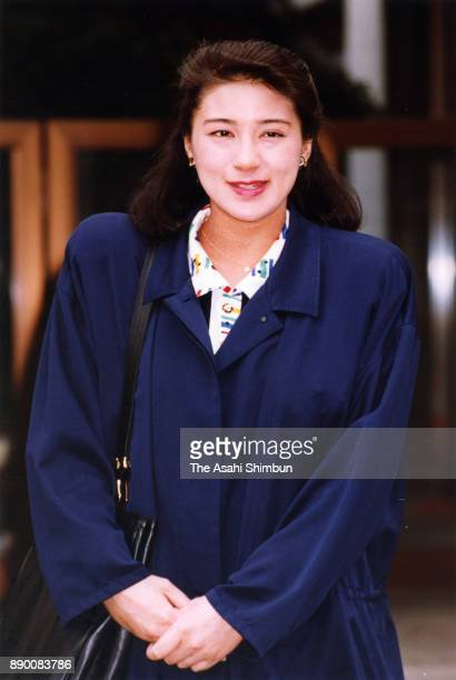 Masako Owada fiancee of Crown Prince Naruhito is seen prior to a session of imperial lectures at her home on April 6 1993 in Tokyo Japan
