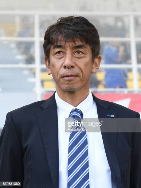 Masami Iharacoach of Avispa Fukuoka looks on prior to the JLeague J2 match between Avispa Fukuoka and Kyoto Sanga at Level 5 Stadium on March 12 2017...