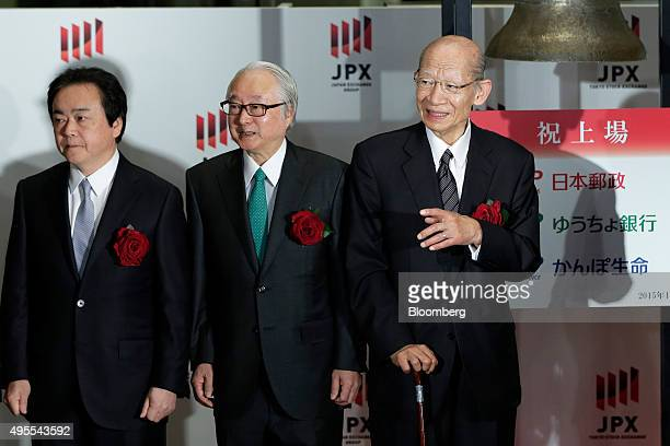 Masami Ishii president of Japan Post Insurance Co from left Masatsugu Nagato president of Japan Post Bank Co and Taizo Nishimuro president of Japan...