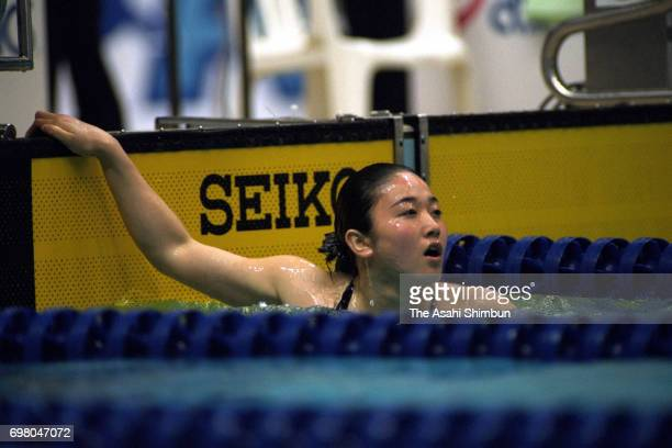 Masami Tanaka celebrates winning the Women's 100m Breaststroke final with the new Japan record during the 71st Swimming Japan Championships at the...