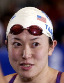 Masami Tanaka of Japan after winning the Women's 200 SC Meter Breaststroke Saturday Finals during the 2004 FINA Swimming World Cup in East Meadow New...