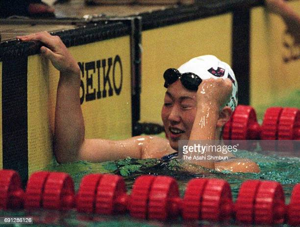 Masami Tanaka of Japan celebrates her second finish in the Women's 200m Breaststroke during day four of the Pan Pacific Swimming Championships at...