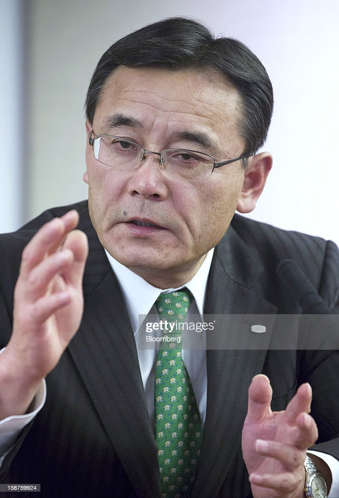 Masami Yamamoto, president of Fujitsu Ltd., speaks during an interview in Tokyo, Japan, on Thursday, Dec. 27, 2012. Fujitsu Ltd., Japan's biggest provider of computer services, said the company will miss its annual shipment target for personal computers as demand in Europe slumps amid the sovereign-debt crisis. Photographer: Noriyuki Aida/Bloomberg via Getty Images