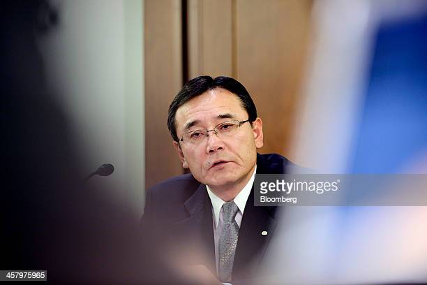 Masami Yamamoto president of Fujitsu Ltd speaks during an interview in Tokyo Japan on Thursday Dec 19 2013 Fujitsu is seeking partners for a...