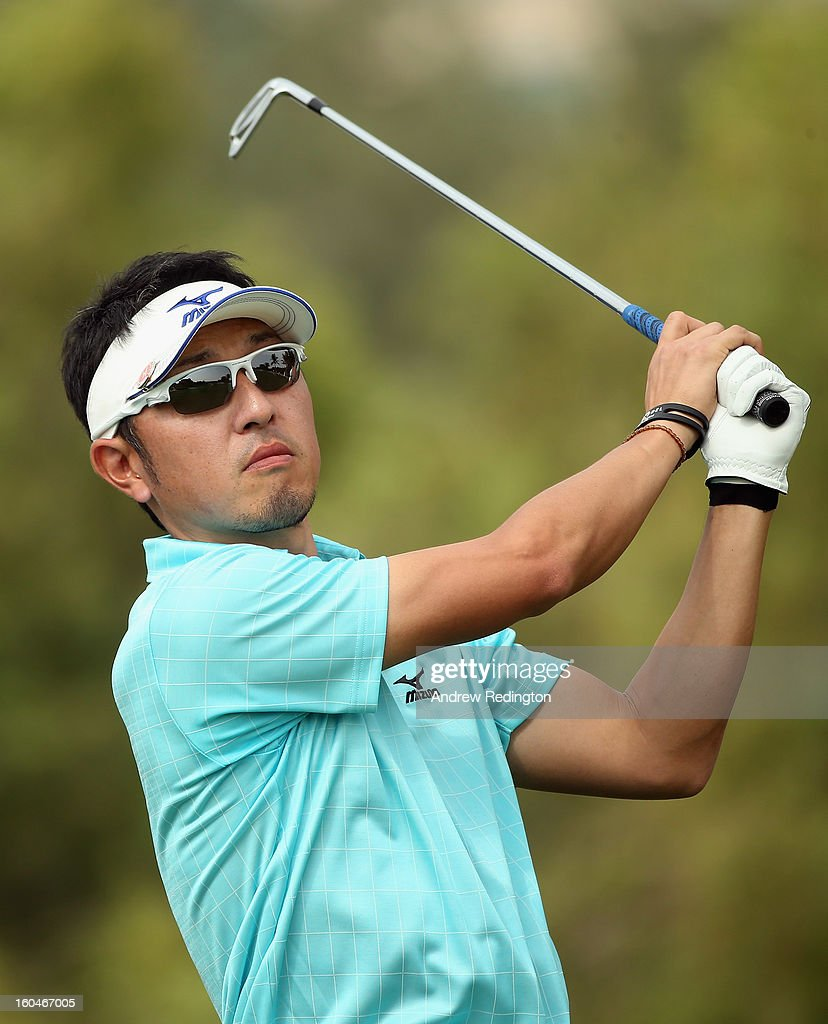 Masanori Kobayashi of Japan in action during the second round of the Omega Dubai Desert Classic at Emirates Golf Club on February 1, 2013 in Dubai, United Arab Emirates.