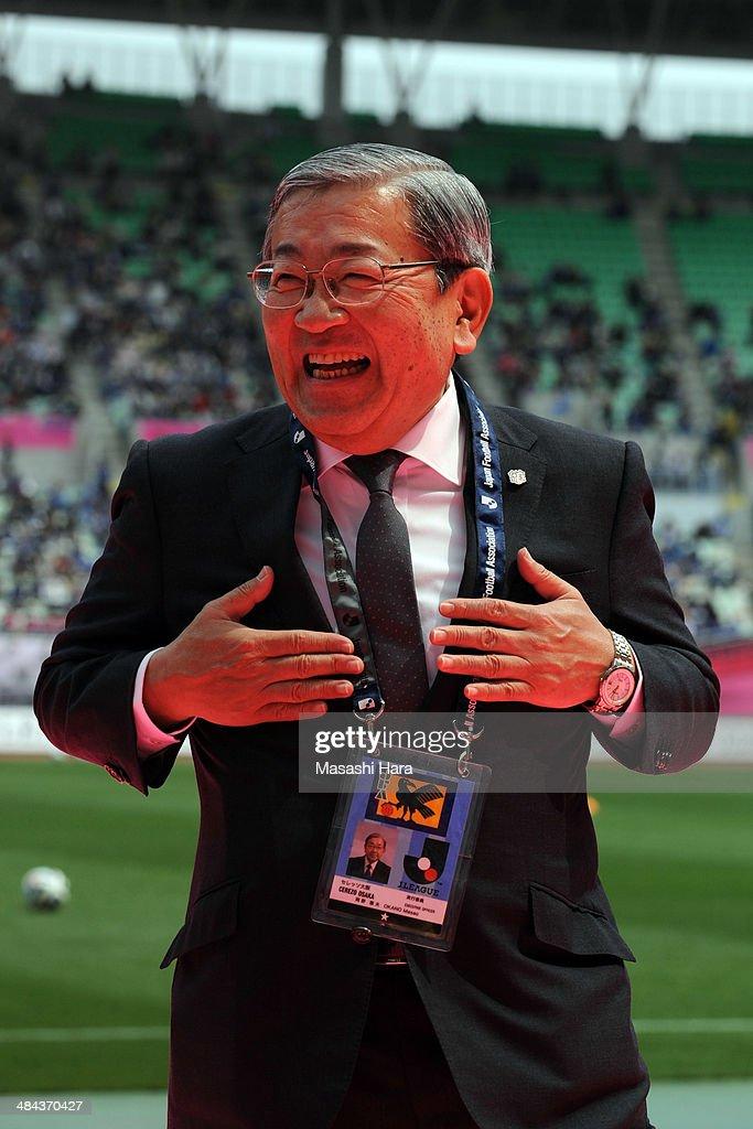 Masao Okano, president of Cerezo Osaka looks on before the J.League match between Cerezo Osaka and Gamba Osaka at Nagai Stadium on April 12, 2014 in Osaka, Japan.