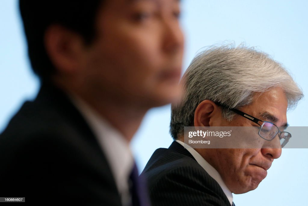 Masaru Kato, executive vice president and chief financial officer of Sony Corp., right, and Shiro Kambe, senior vice president of corporate communications, attend a news conference in Tokyo, Japan, on Thursday, Feb. 7, 2013. Sony, Japan's biggest consumer-electronics exporter, reported an eighth consecutive quarterly loss on waning demand for TVs and consumer preferences for devices from Apple Inc. and Samsung Electronics Co. Photographer: Kiyoshi Ota/Bloomberg via Getty Images